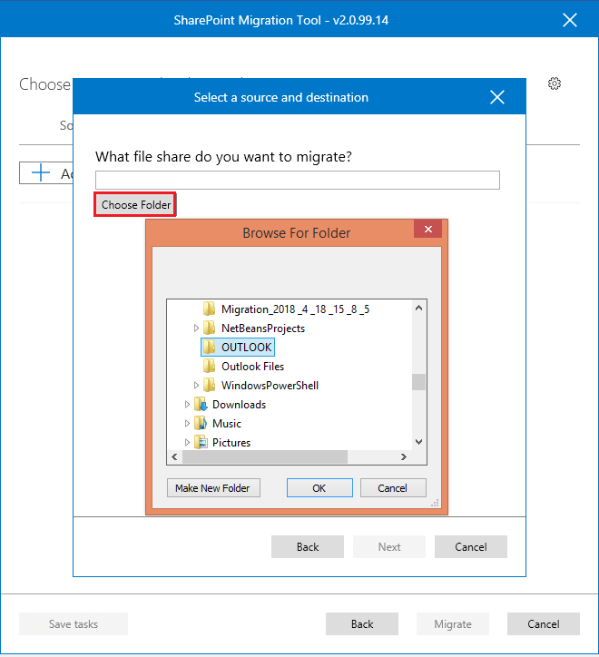 Choose Folder and browse the folder