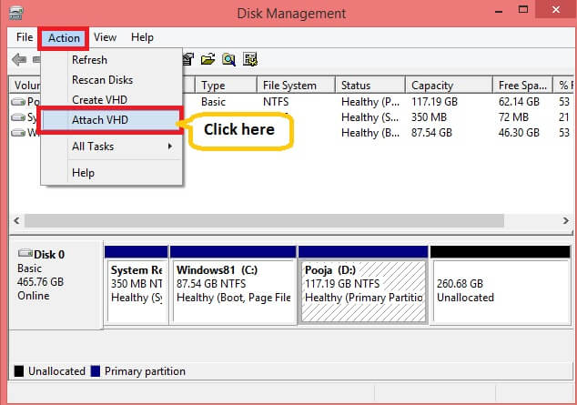 open Disk Management. Expand Action menu and click Attach VHD