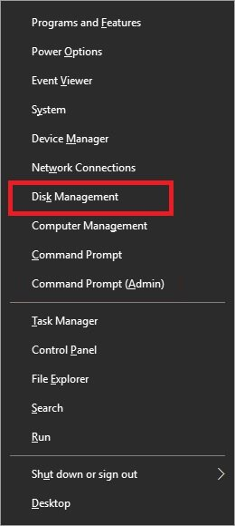 choose Disk Management as shown below