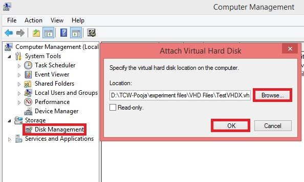 Click Attach VHD and click Browse to load the VHD or VHDX file
