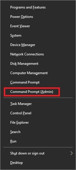 click Command Prompt (Admin) mode