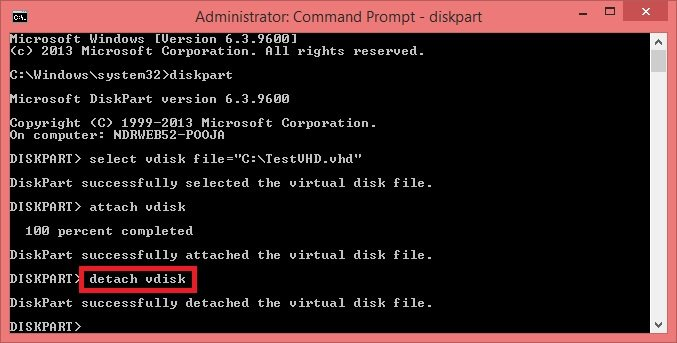 To unmount a VHD/VHDX file, type detach vdisk and hit Enter