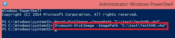 Dismount-DiskImage -ImagePath location of VHD file