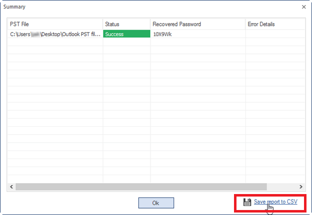 save recovered password