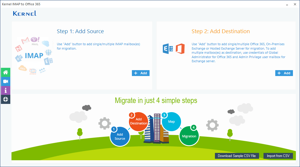 Launch IMAP to Office 365 migration tool