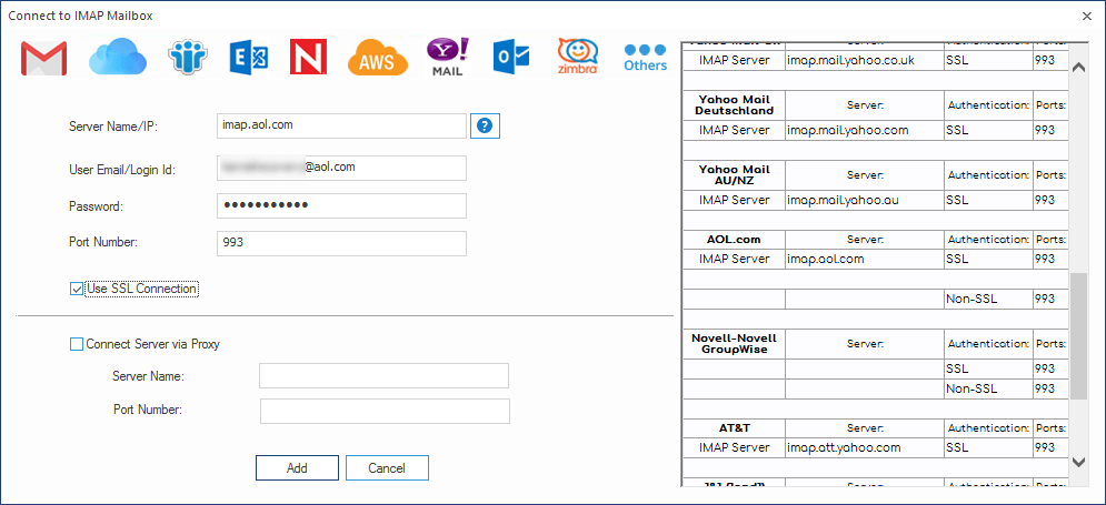 Add the server name and other details to connect AOL