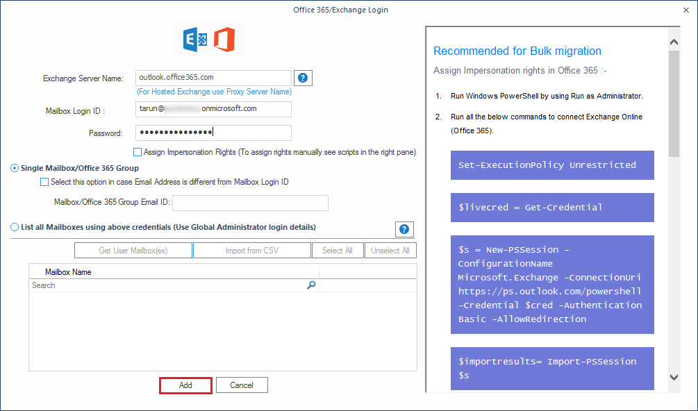 Enter the credentials of the Office 365 account