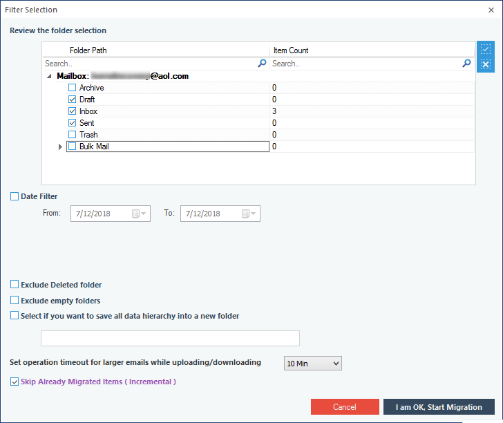 Select the folder to migrate