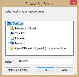 location to save the backup file