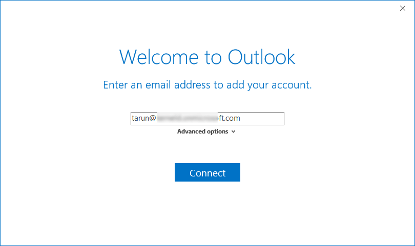 add your Office 365 global admin account address