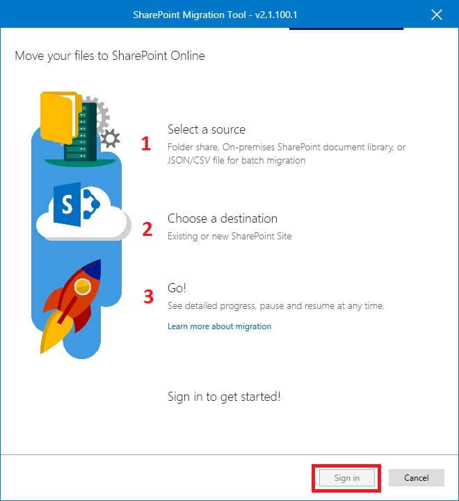 Launch SharePoint Migration Tool