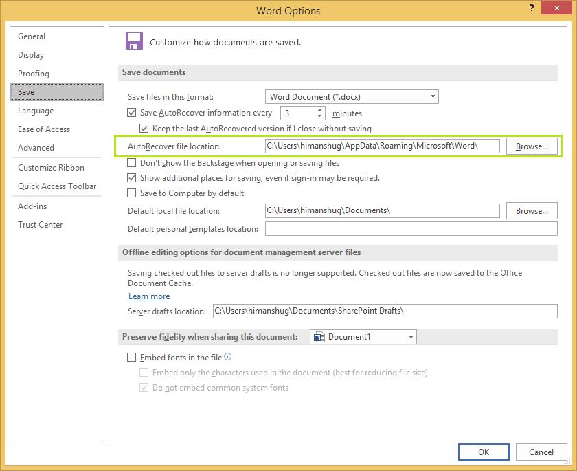 Auto recover file location