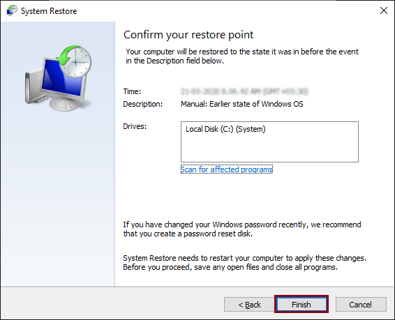 Confirm initiating the restore process by clicking