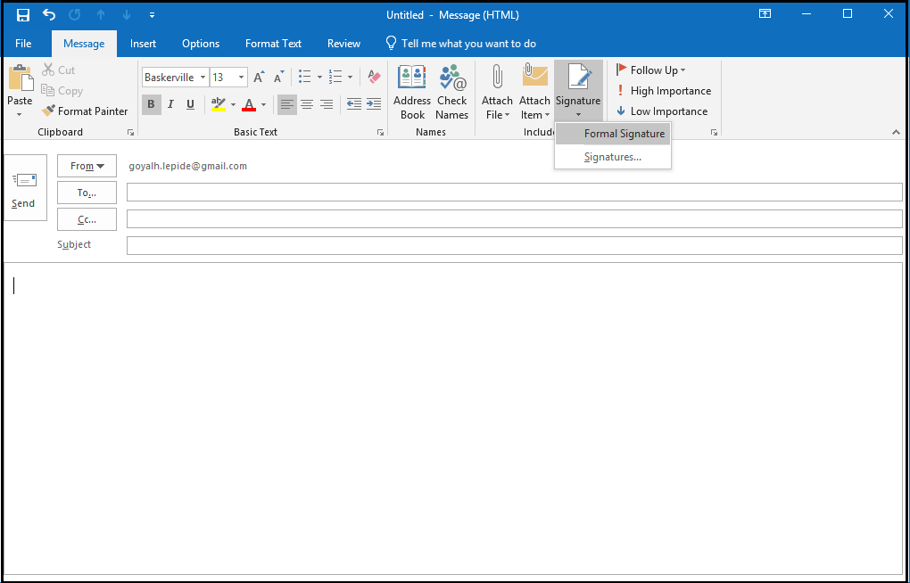 Open New Email in MS Outlook