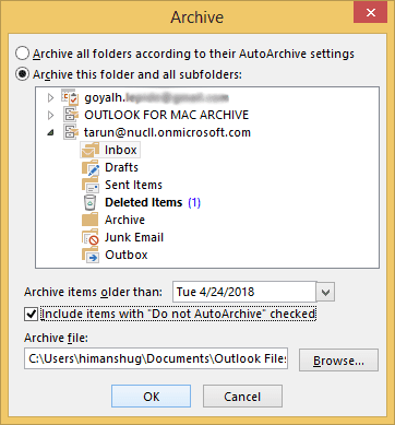 Select desired Location to save archive files
