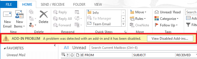 Add-ins problem in MS Outlook