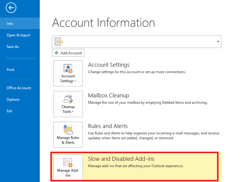Manage add-ins that are affecting Outlook