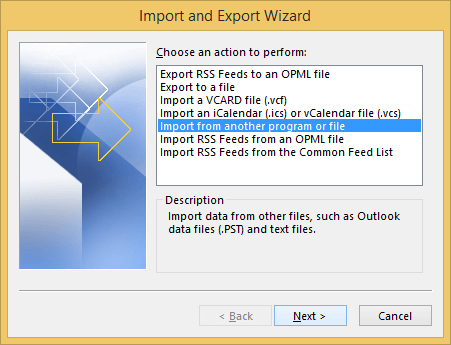 Select Import and Export Option.