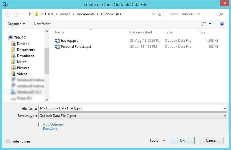 Create or Open Outlook Data File
