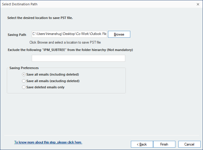 select the location to save the PST file