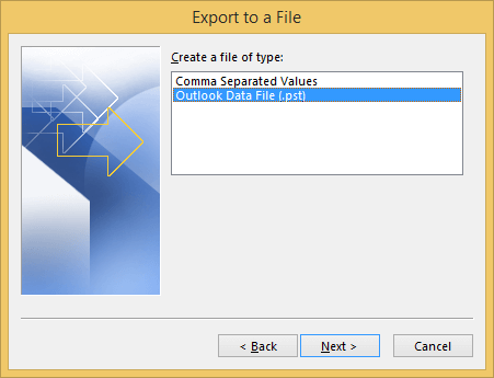 Select Outlook Data File (.pst)