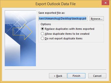 Select the location to save the file