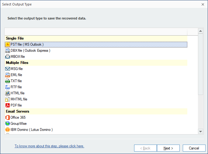 Select Outlook PST file and click Next.
