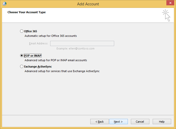choose account type POP/IMAP