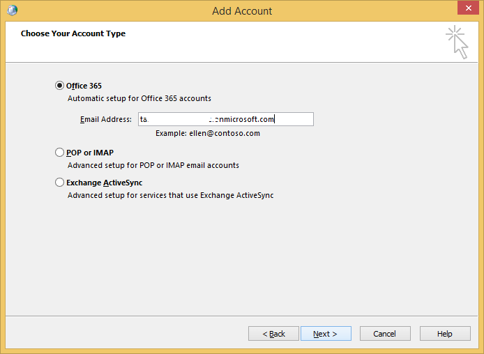 select Office 365 and enter the details