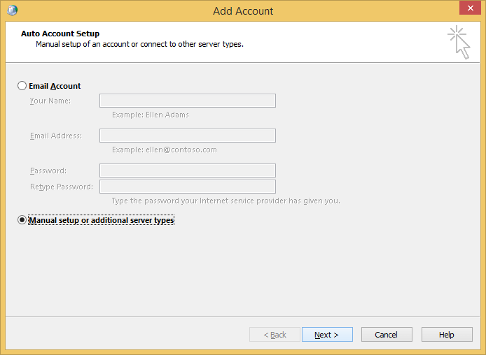 Manual setup for account