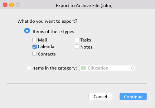 Export to Archive File (.olm)