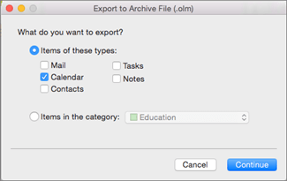 Select the items to export