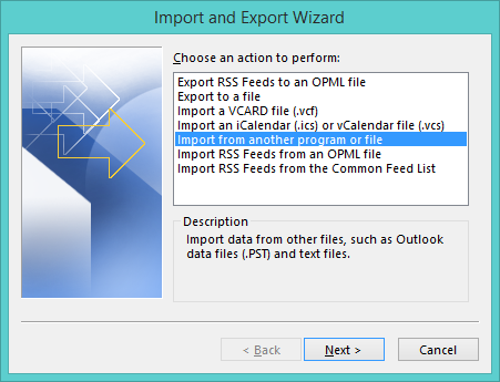 Select Import from another program/file