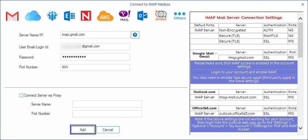 Add IMAP credentials
