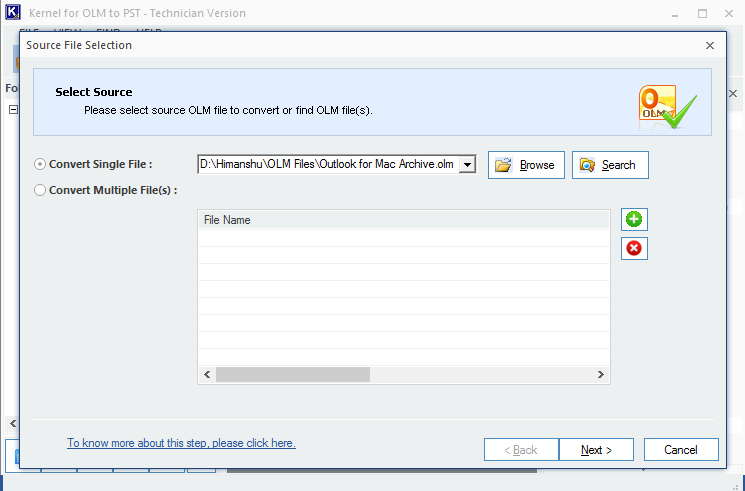 Select the OLM file and click Next