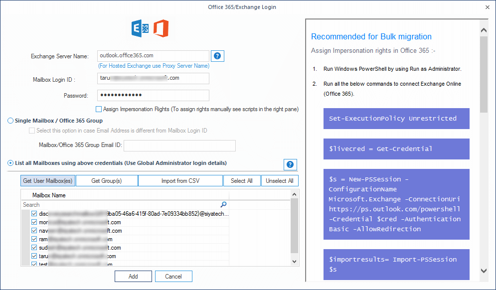 Add office 365 account credentials