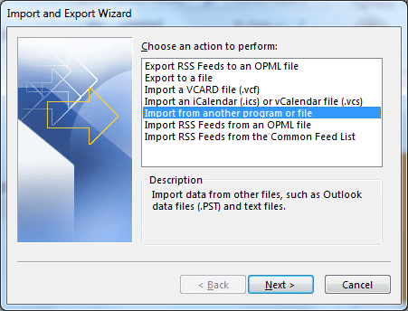 Select Import from another program