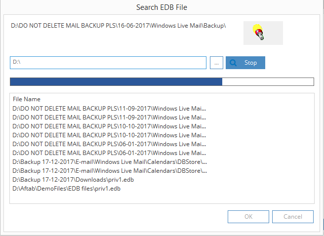 search the EDB file from any folder or drive