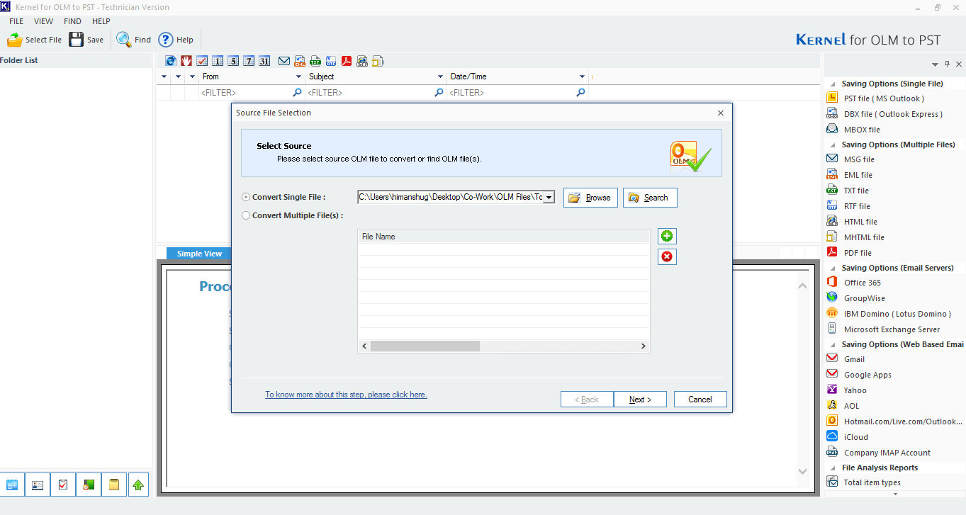 launch OLM to PST converter Tool