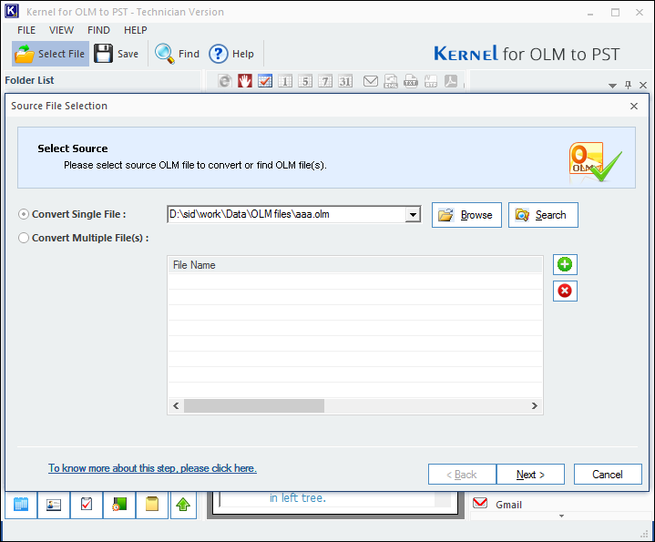 OLM to PST converter tool, Select OLM file