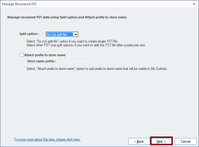Manage the recovered PST file