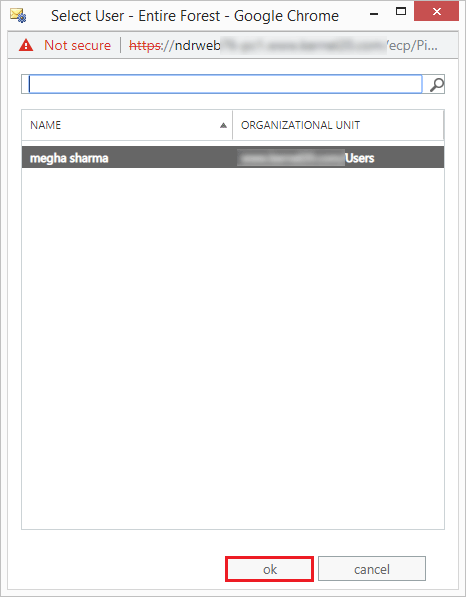 Select the account and click ok