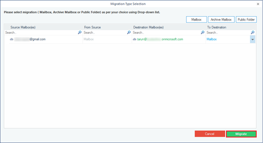 Select the type of mailbox to migrate Gmail data
