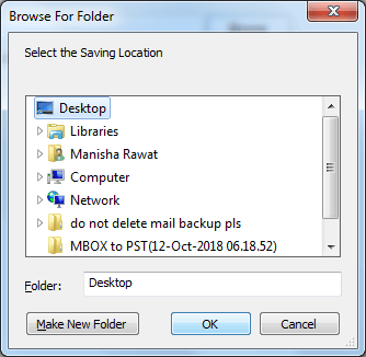 Select a destination or create new folder