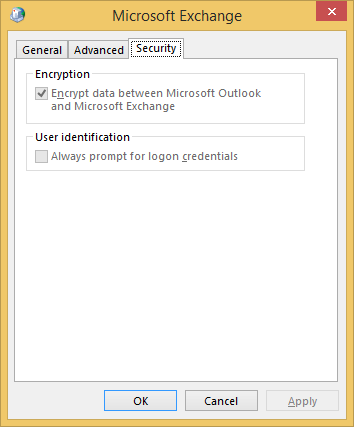 Open the Microsoft Exchange dialog box and select the Security Tab