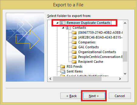 Select the Remove Duplicate Contact folder
