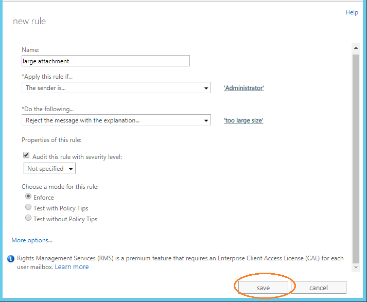 Ways to increase email size limit in Exchange Server 2013?