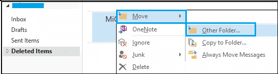 Move deleted emails to other folder