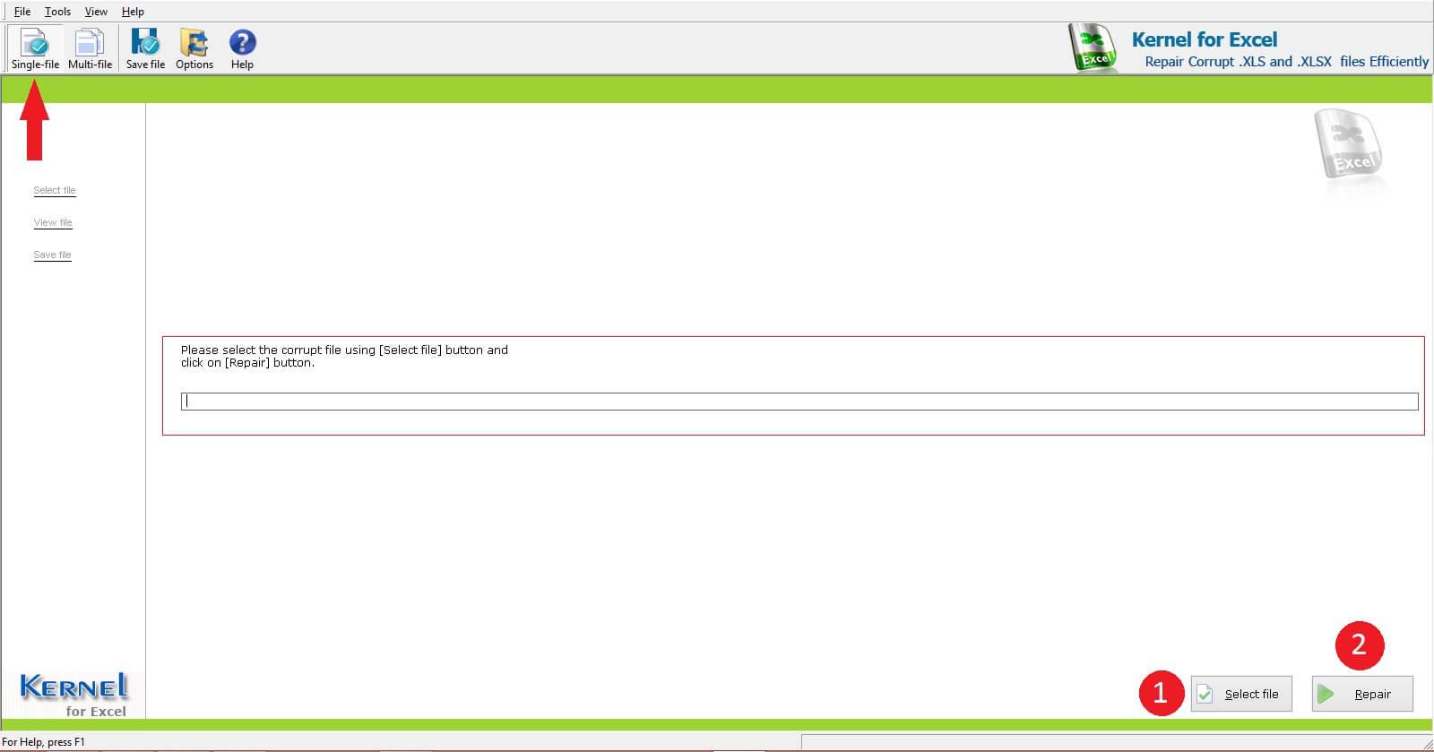 select damaged Excel file