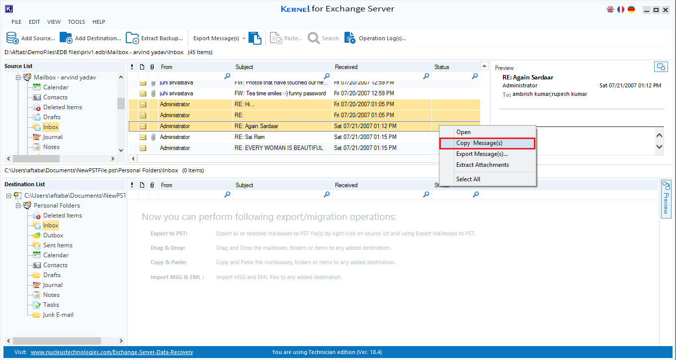 export the message from a source to destination